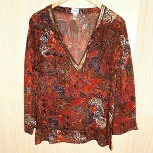 Chico's Women's Sheer Rayon Aztec Pullover Top. XL